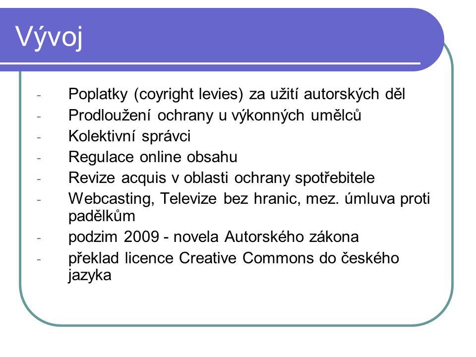 Vývoj Poplatky (coyright levies) za užití autorských děl