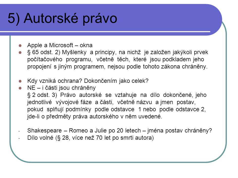 5) Autorské právo Apple a Microsoft – okna
