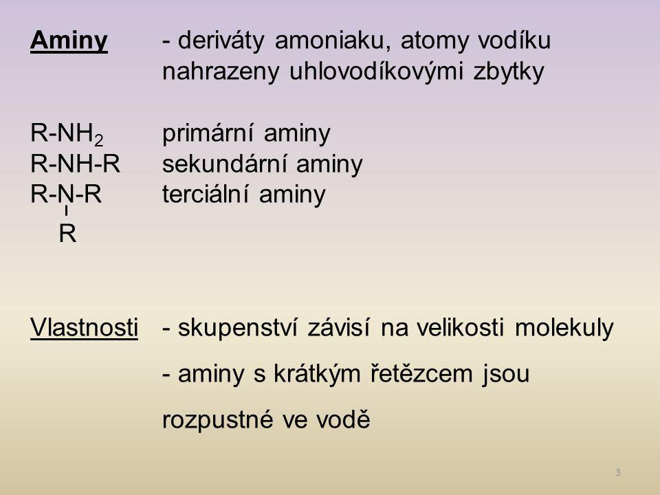 Aminy. - deriváty amoniaku, atomy vodíku
