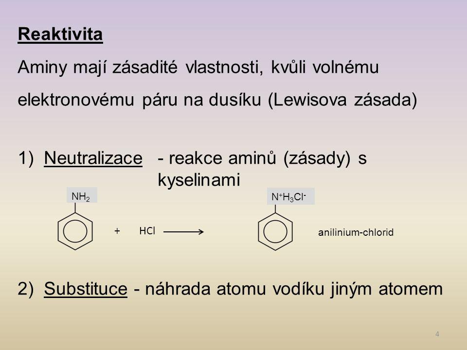 Neutralizace - reakce aminů (zásady) s kyselinami