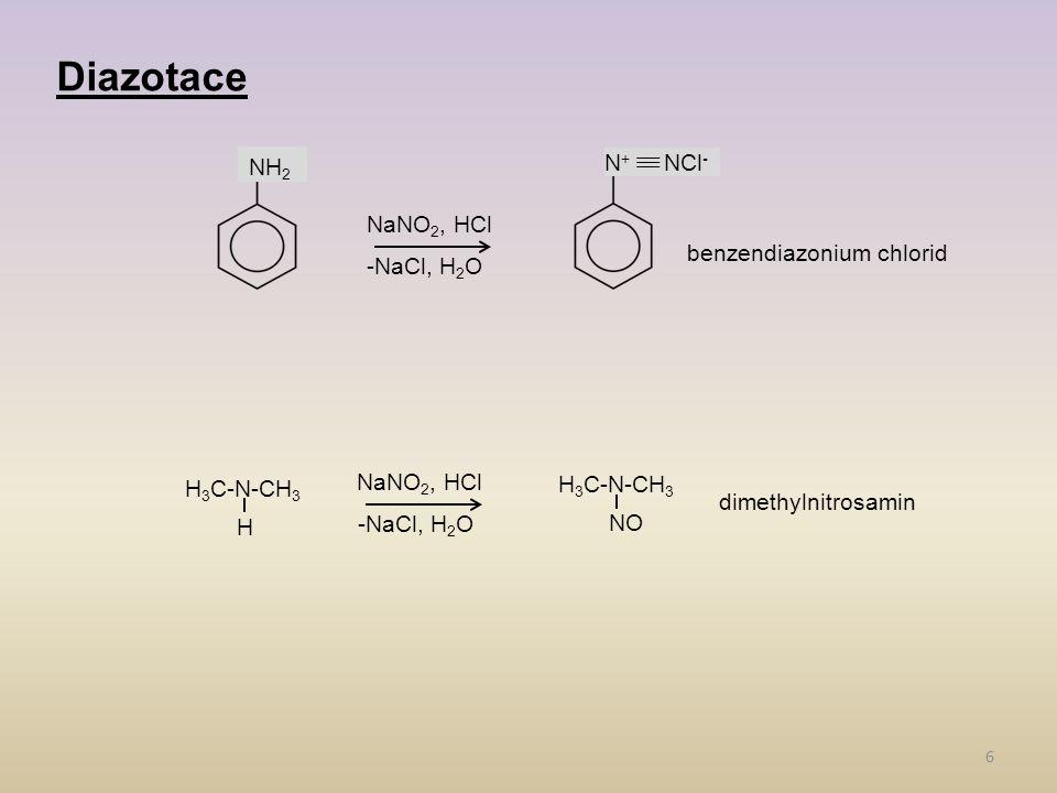 Diazotace NH2 N+ NCl- NaNO2, HCl -NaCl, H2O benzendiazonium chlorid