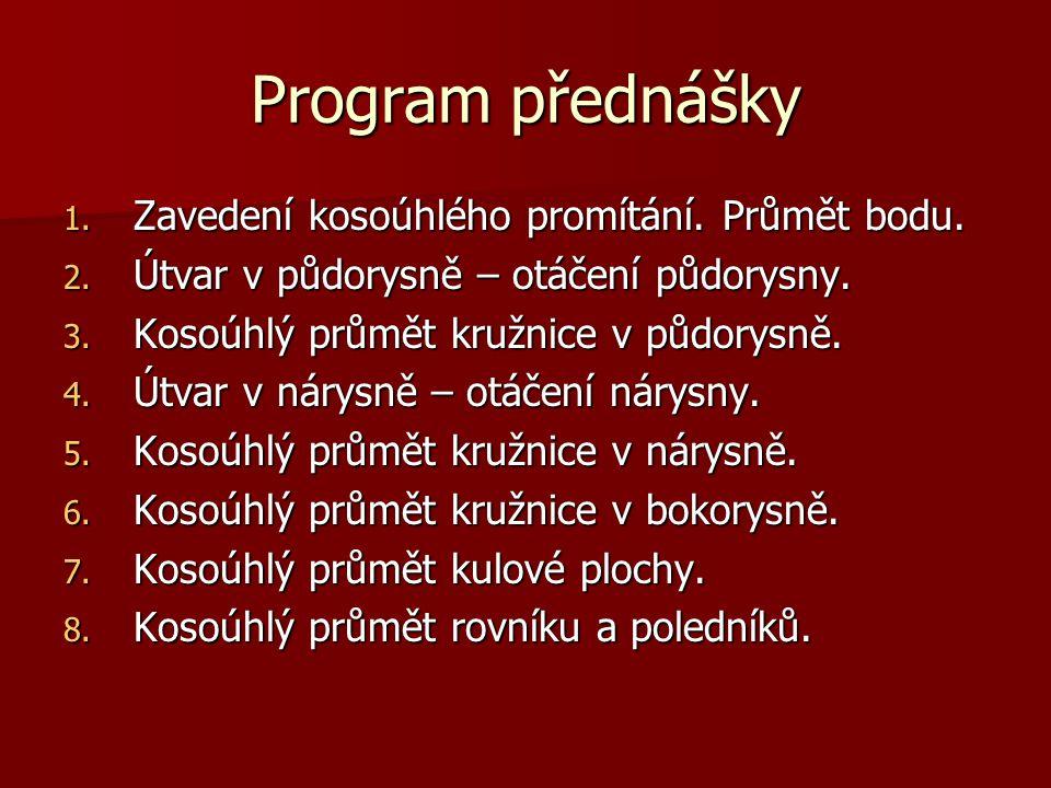 Program přednášky Zavedení kosoúhlého promítání. Průmět bodu.