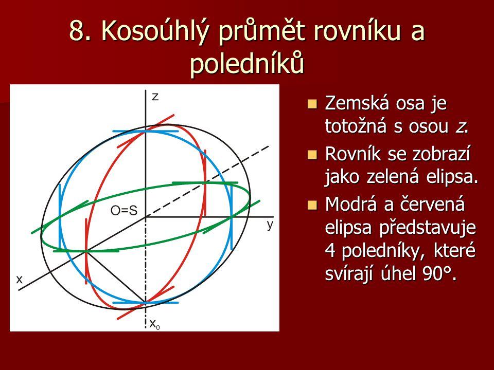 8. Kosoúhlý průmět rovníku a poledníků