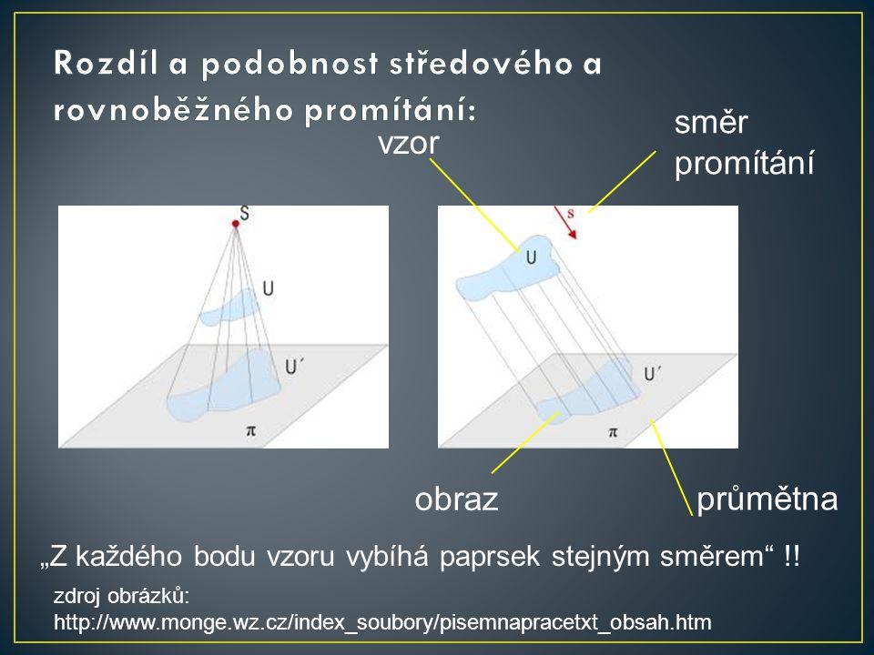 Rozdíl a podobnost středového a rovnoběžného promítání: