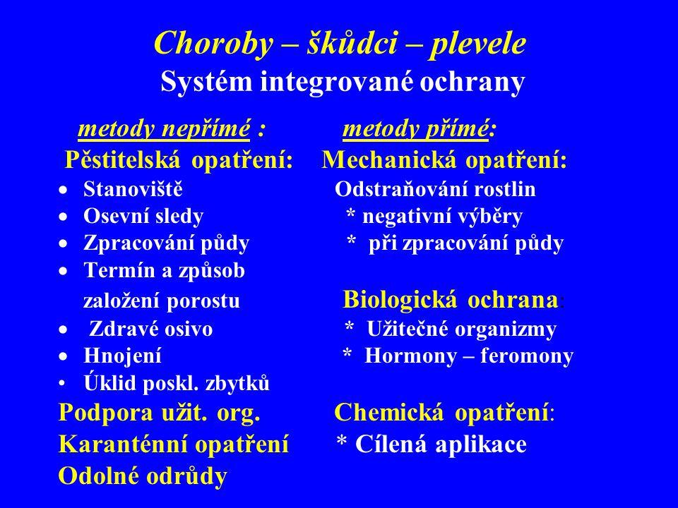 Choroby – škůdci – plevele Systém integrované ochrany