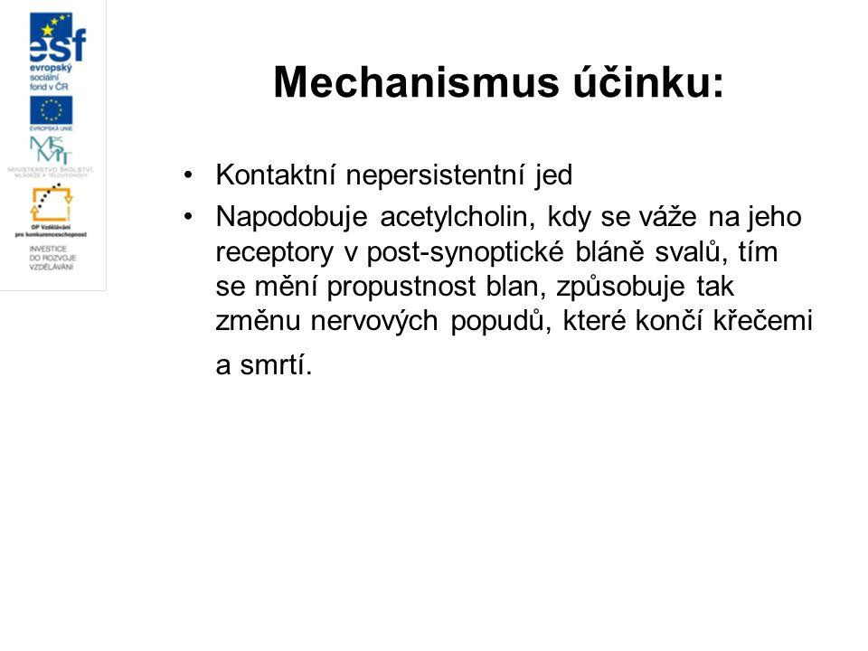 Mechanismus účinku: Kontaktní nepersistentní jed