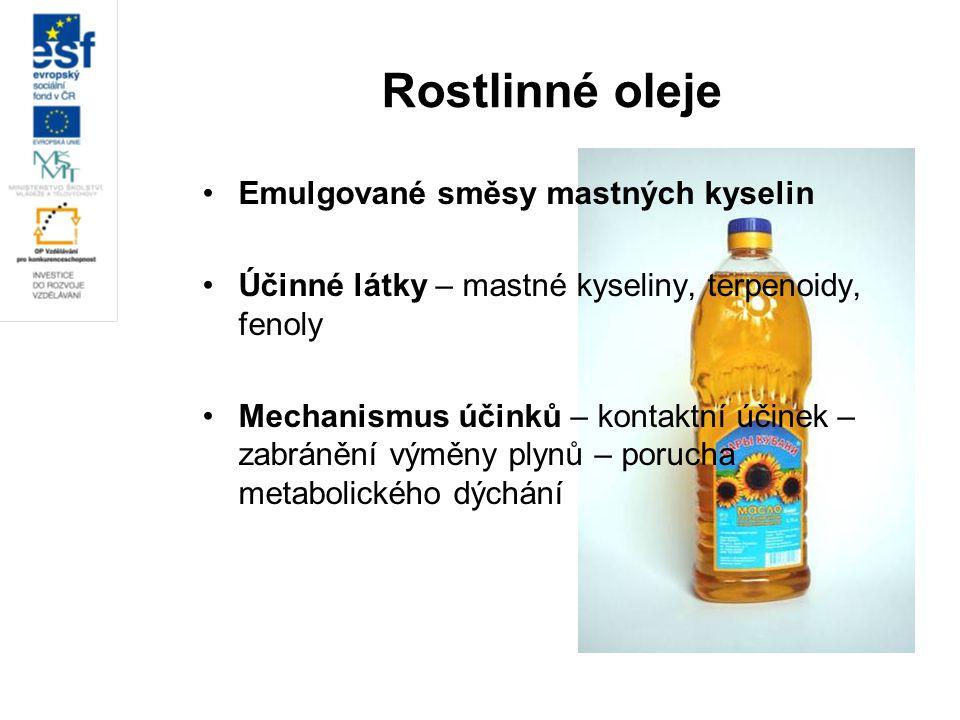 Rostlinné oleje Emulgované směsy mastných kyselin