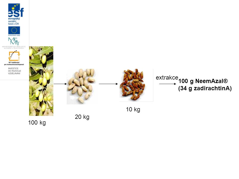 100 g NeemAzal® (34 g zadirachtinA) extrakce 10 kg 20 kg 100 kg