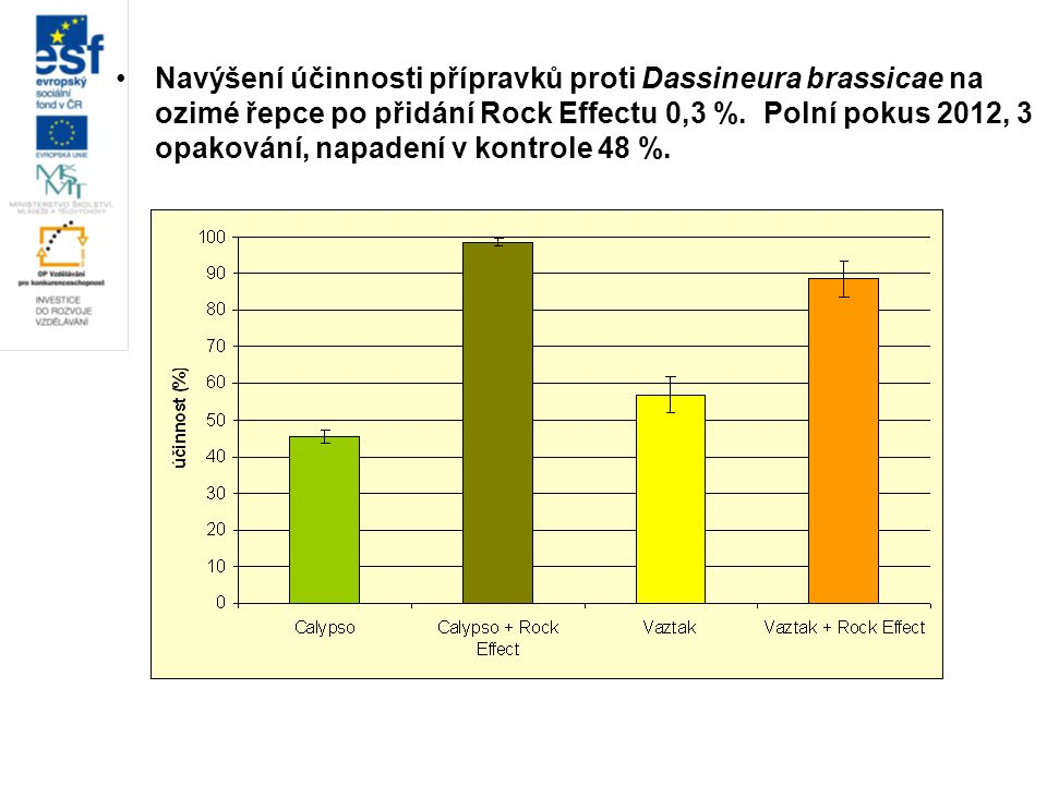 Navýšení účinnosti přípravků proti Dassineura brassicae na ozimé řepce po přidání Rock Effectu 0,3 %.