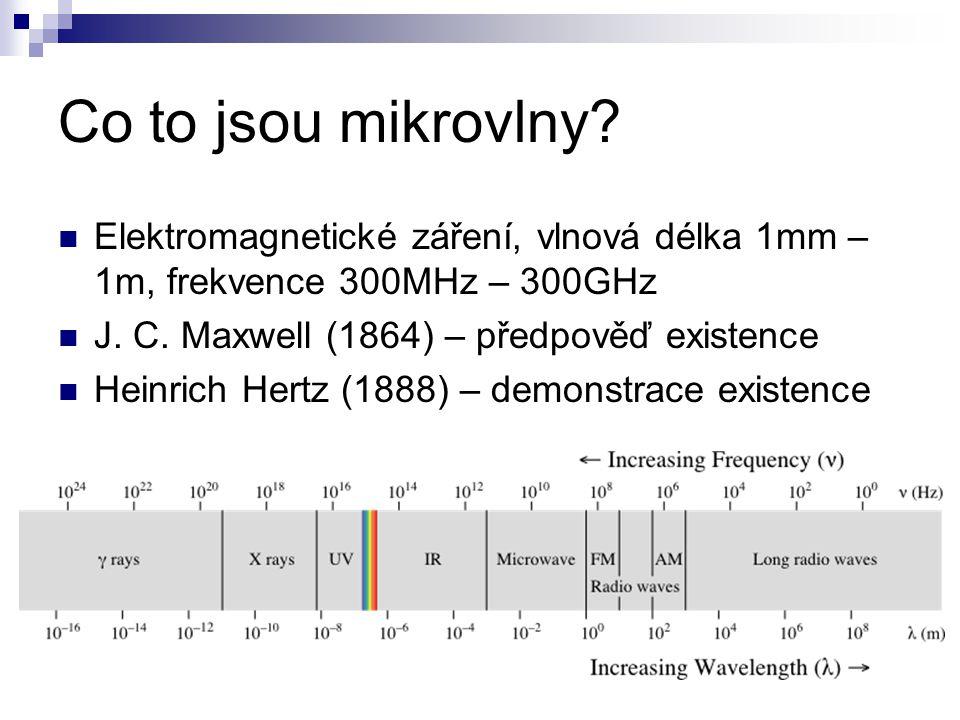 Co to jsou mikrovlny Elektromagnetické záření, vlnová délka 1mm – 1m, frekvence 300MHz – 300GHz. J. C. Maxwell (1864) – předpověď existence.