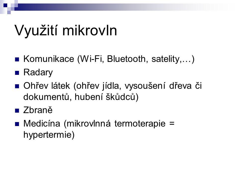 Využití mikrovln Komunikace (Wi-Fi, Bluetooth, satelity,…) Radary