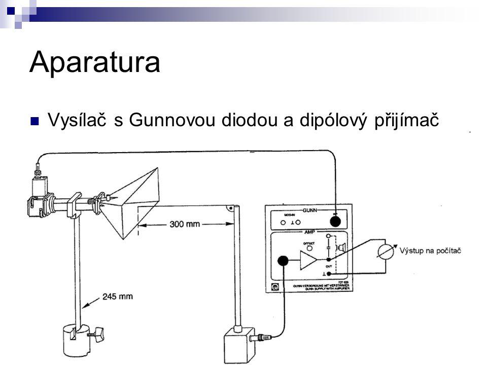 Aparatura Vysílač s Gunnovou diodou a dipólový přijímač
