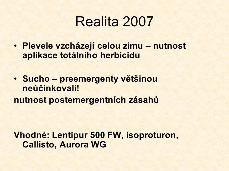 Realita 2007 Plevele vzcházejí celou zimu – nutnost aplikace totálního herbicidu. Sucho – preemergenty většinou neúčinkovali!