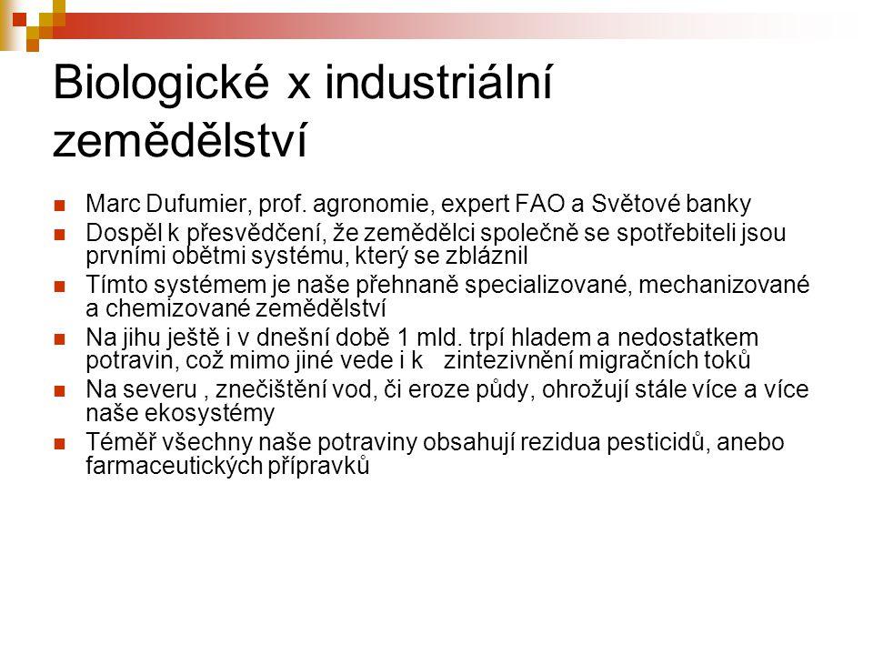 Biologické x industriální zemědělství