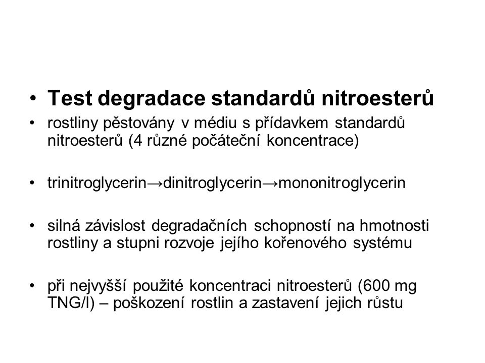 Test degradace standardů nitroesterů