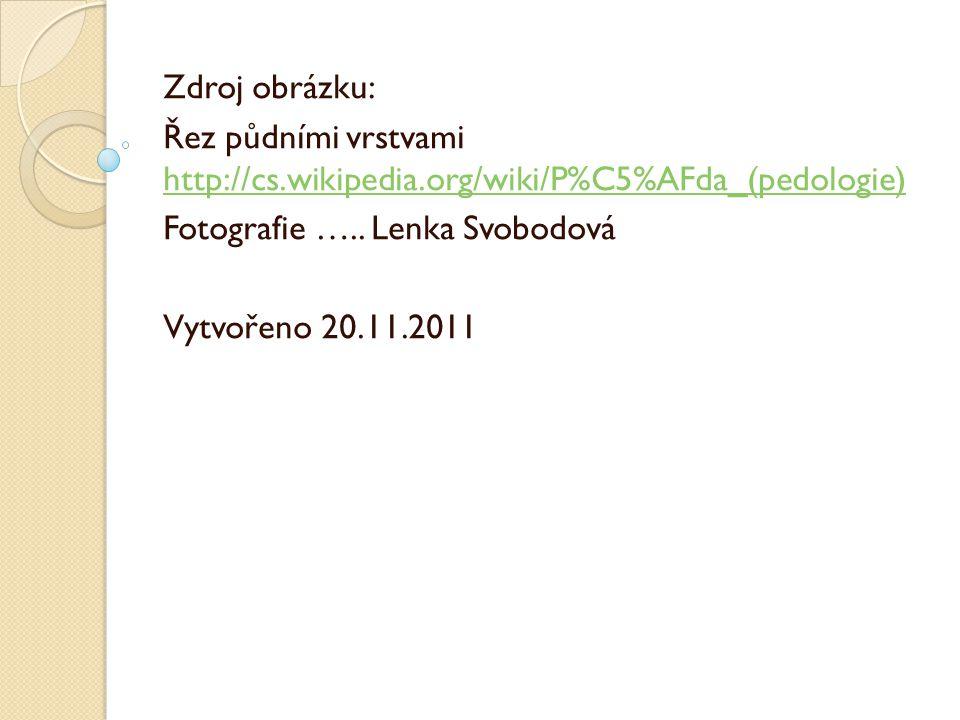 Zdroj obrázku: Řez půdními vrstvami http://cs.wikipedia.org/wiki/P%C5%AFda_(pedologie) Fotografie ….. Lenka Svobodová.