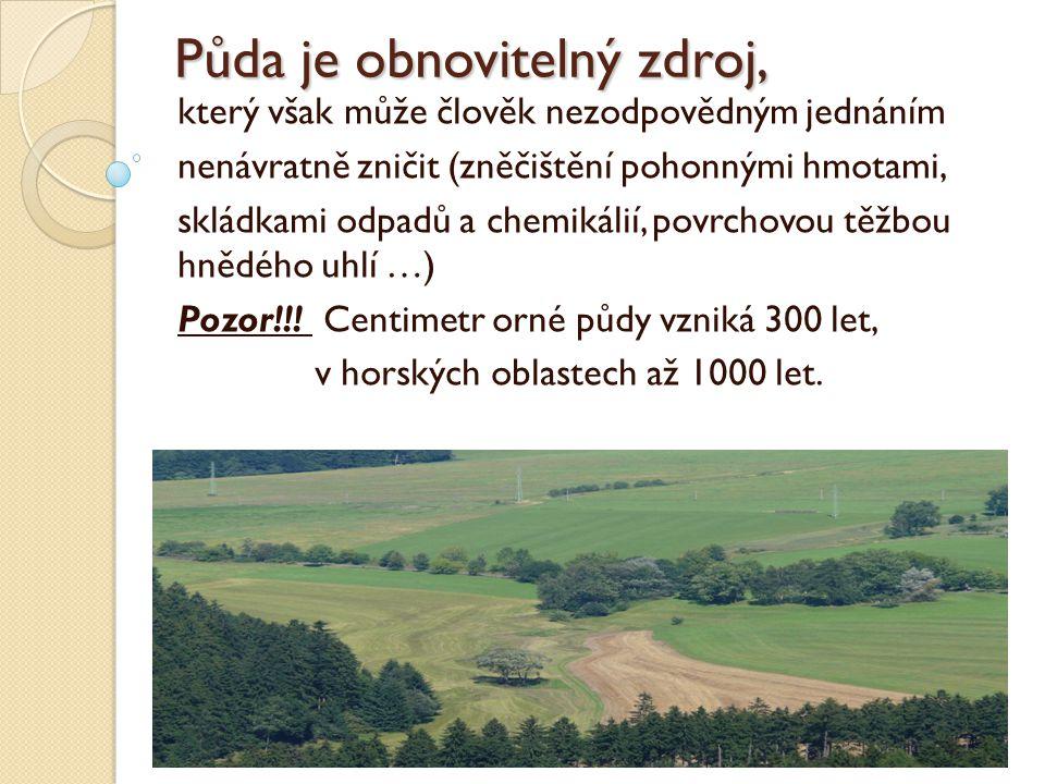 Půda je obnovitelný zdroj,