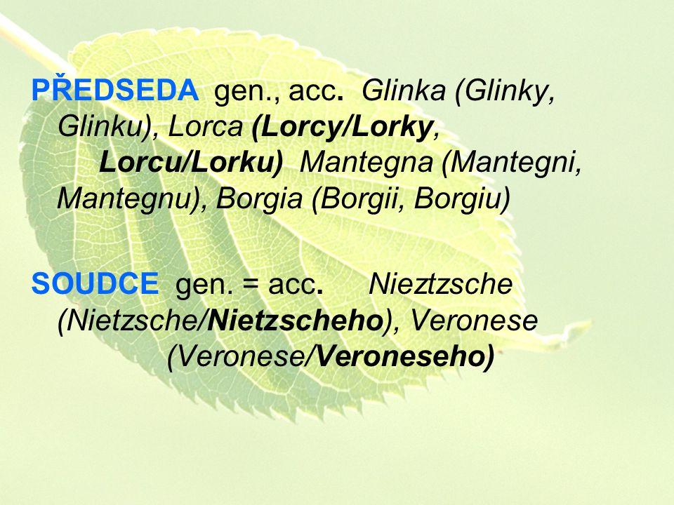 PŘEDSEDA gen. , acc. Glinka (Glinky, Glinku), Lorca (Lorcy/Lorky,