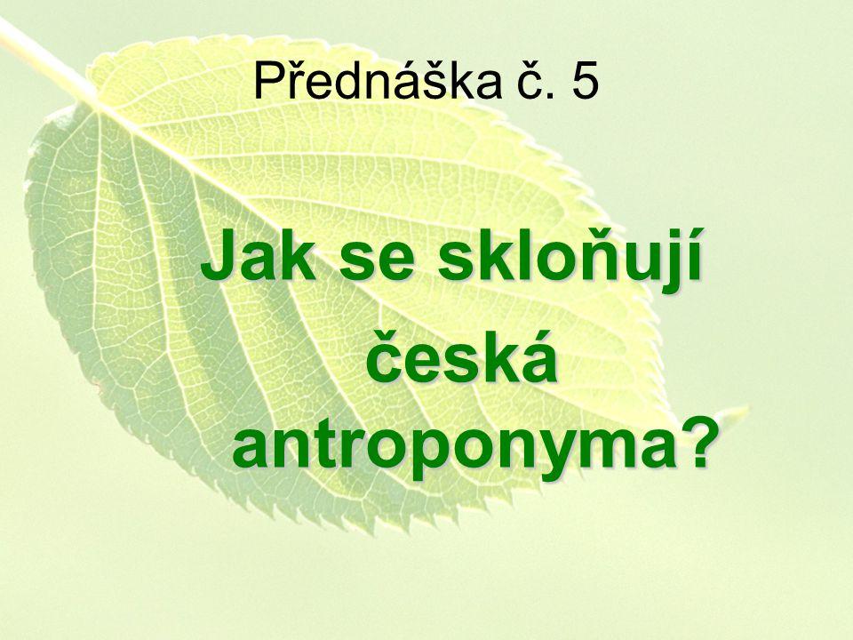 Jak se skloňují česká antroponyma