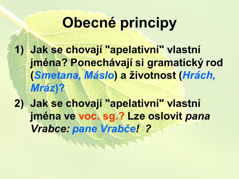 Obecné principy Jak se chovají apelativní vlastní jména Ponechávají si gramatický rod (Smetana, Máslo) a životnost (Hrách, Mráz)