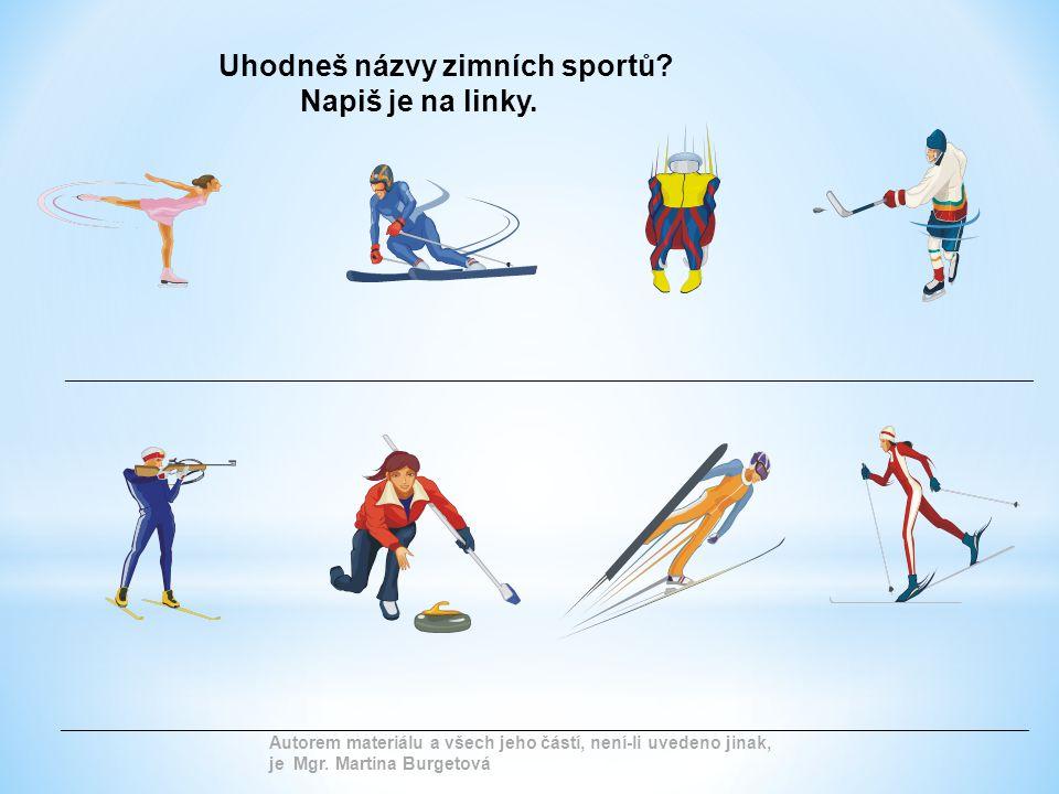Uhodneš názvy zimních sportů Napiš je na linky.