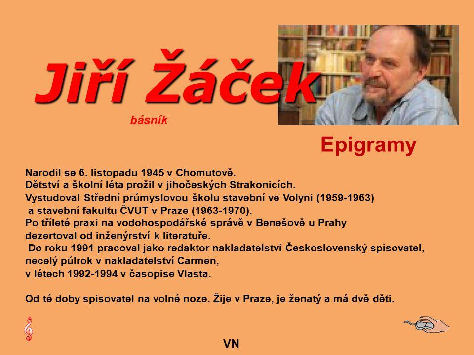 Jiří Žáček Epigramy básník VN