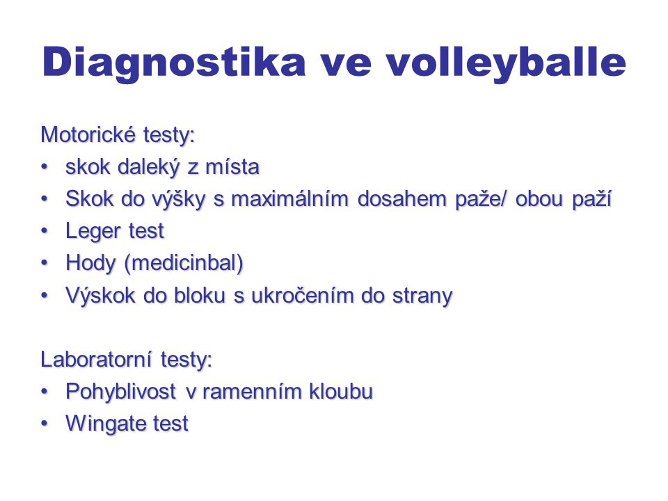 Diagnostika ve volleyballe