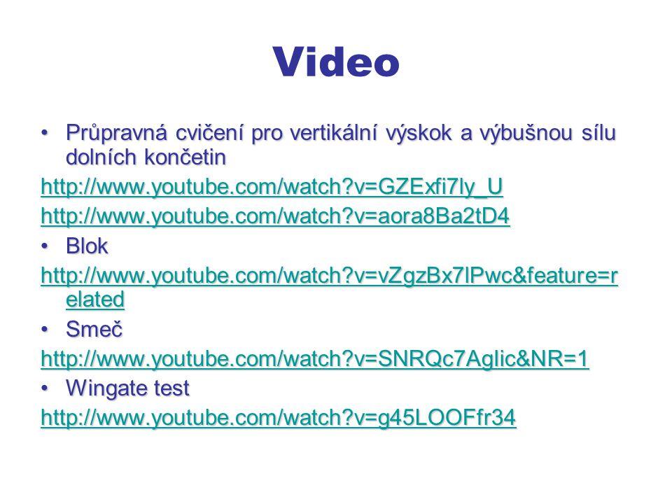 Video Průpravná cvičení pro vertikální výskok a výbušnou sílu dolních končetin. http://www.youtube.com/watch v=GZExfi7ly_U.