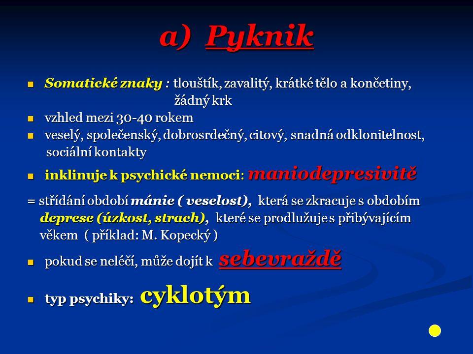 a) Pyknik Somatické znaky : tlouštík, zavalitý, krátké tělo a končetiny, žádný krk. vzhled mezi 30-40 rokem.