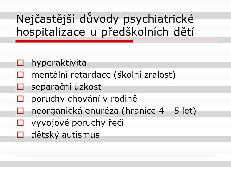 Nejčastější důvody psychiatrické hospitalizace u předškolních dětí
