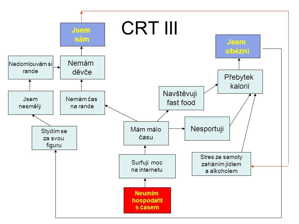 CRT III Jsem sám Jsem obézní Nemám děvče Přebytek kalorií Navštěvuji