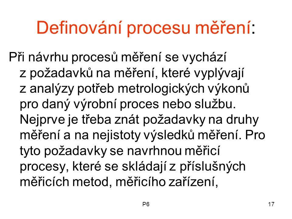 Definování procesu měření: