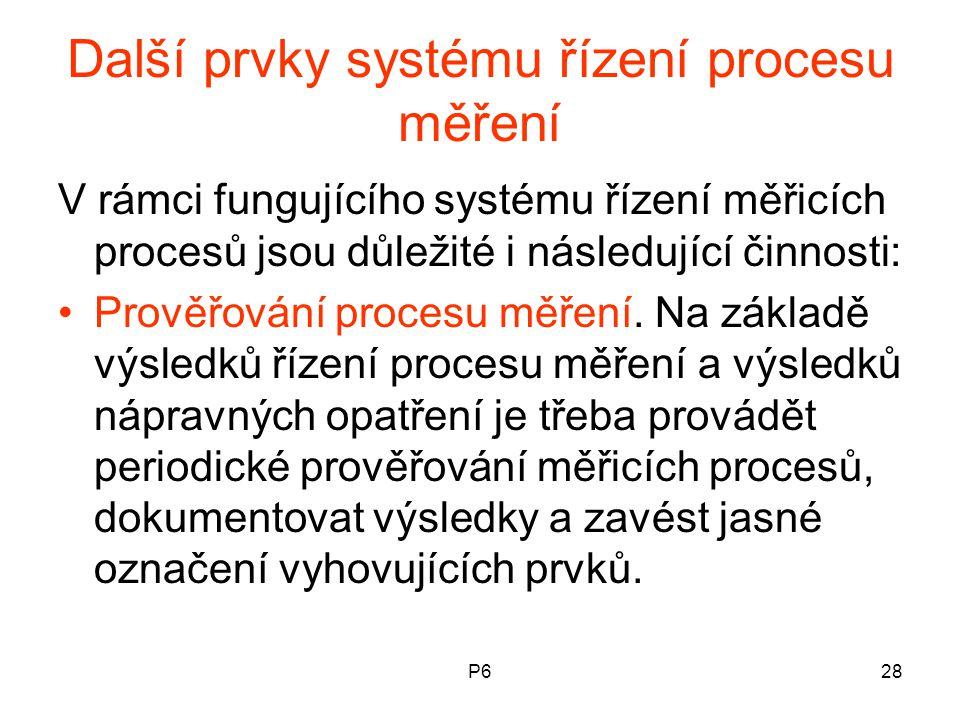 Další prvky systému řízení procesu měření