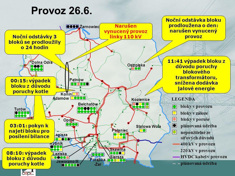 Provoz 26.6. Noční odstávka bloku prodloužena o den: narušen vynucený provoz. Żarnowiec. Narušen vynucený provoz linky 110 kV.