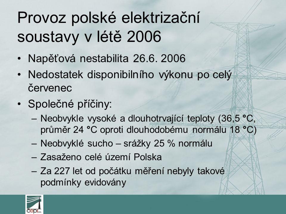 Provoz polské elektrizační soustavy v létě 2006