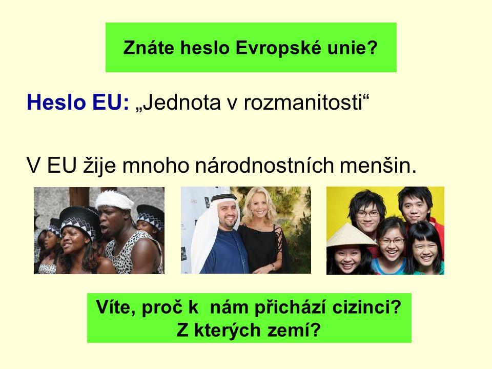Znáte heslo Evropské unie Víte, proč k nám přichází cizinci