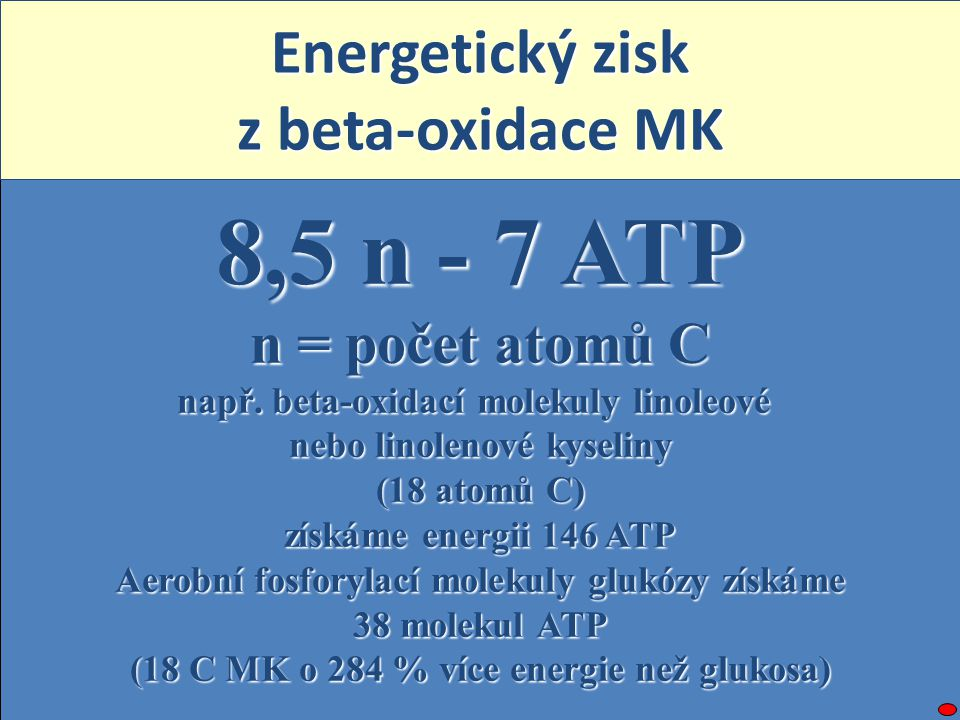8,5 n - 7 ATP Energetický zisk z beta-oxidace MK n = počet atomů C