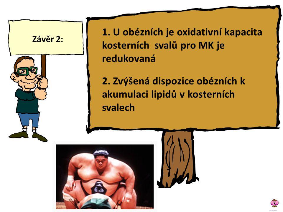 2. Zvýšená dispozice obézních k akumulaci lipidů v kosterních svalech