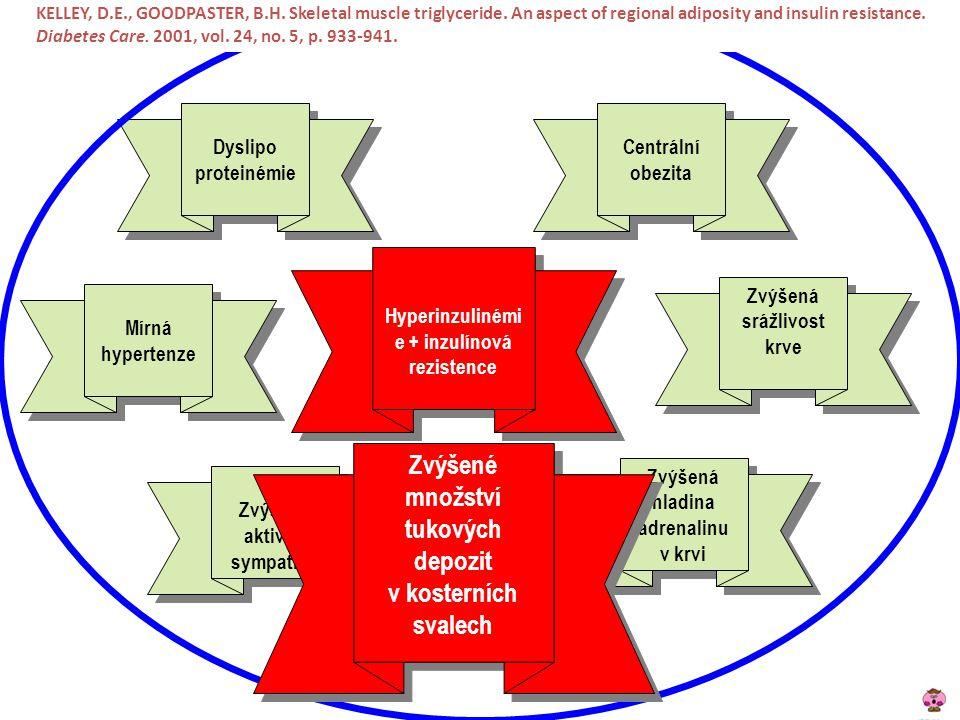 Hyperinzulinémie + inzulínová rezistence hladina adrenalinu v krvi