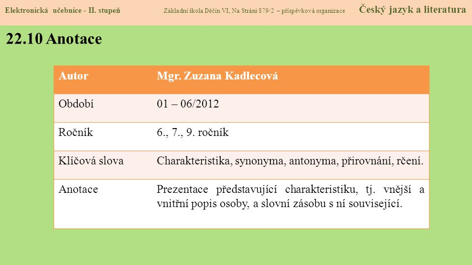 22.10 Anotace Autor Mgr. Zuzana Kadlecová Období 01 – 06/2012 Ročník