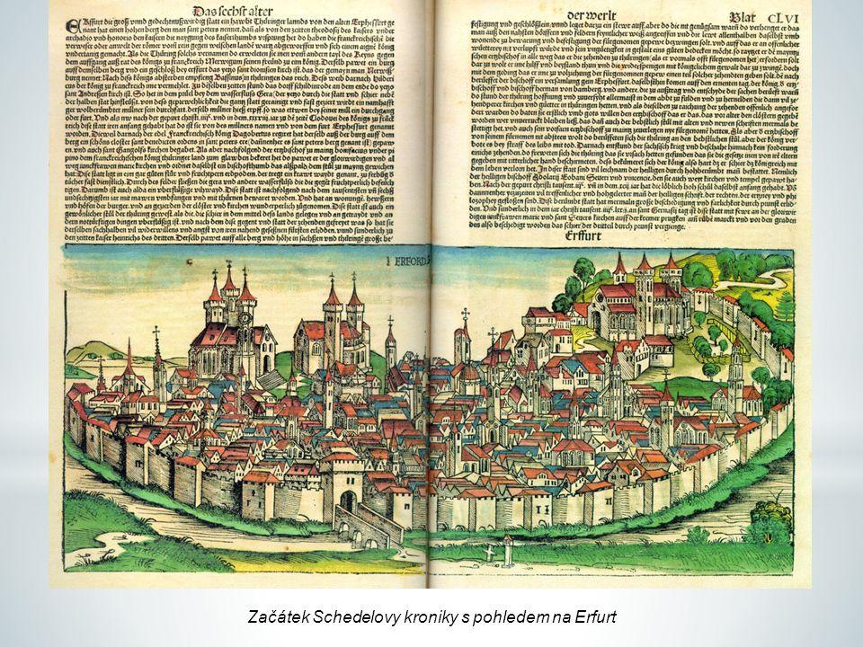 Začátek Schedelovy kroniky s pohledem na Erfurt