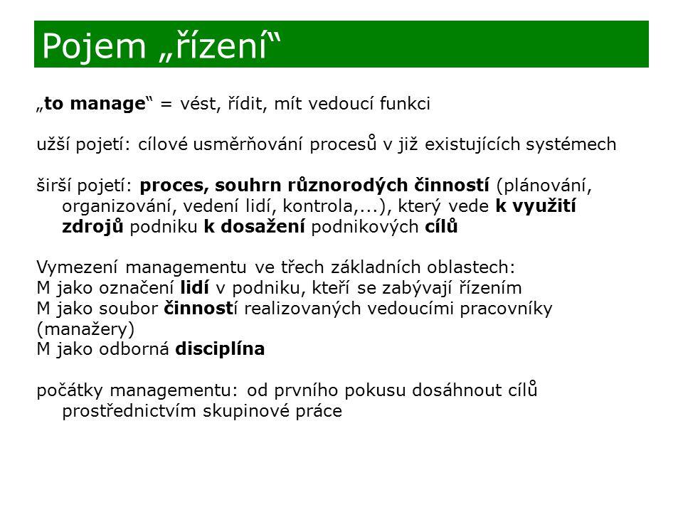 """Pojem """"řízení """"to manage = vést, řídit, mít vedoucí funkci"""
