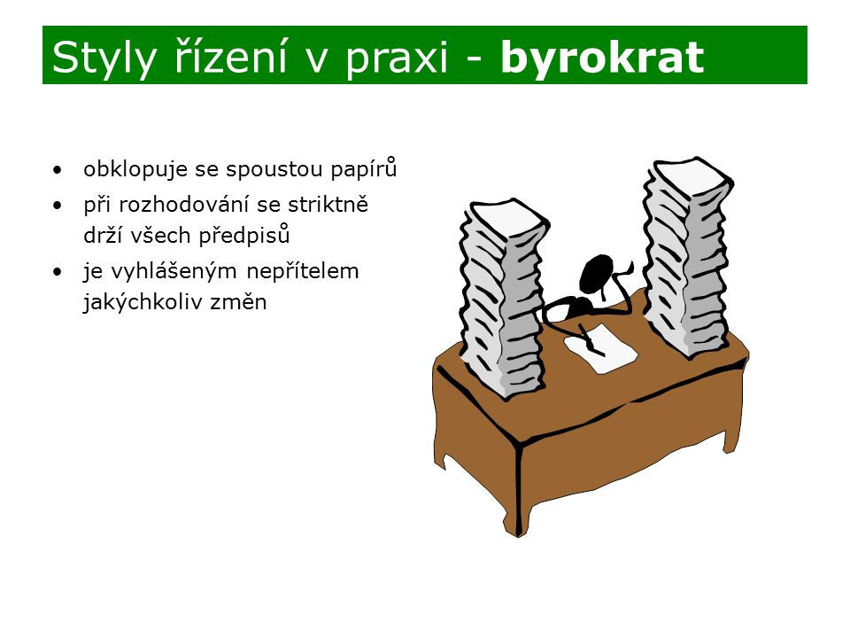 Styly řízení v praxi - byrokrat
