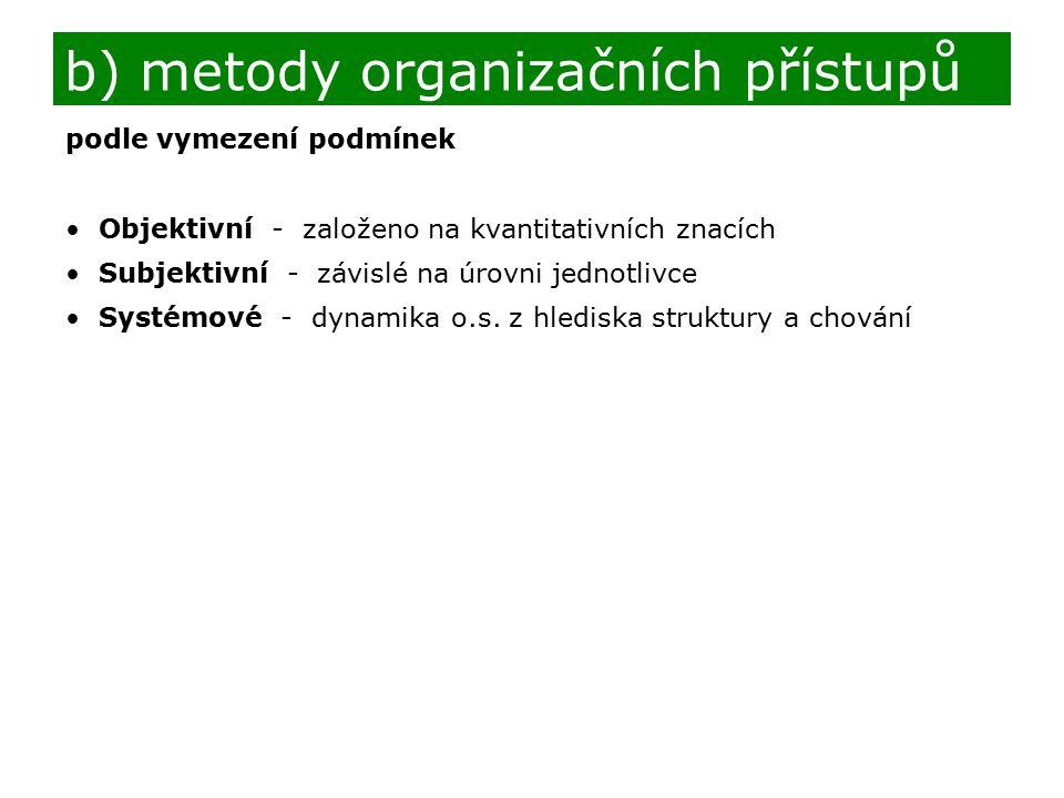 b) metody organizačních přístupů