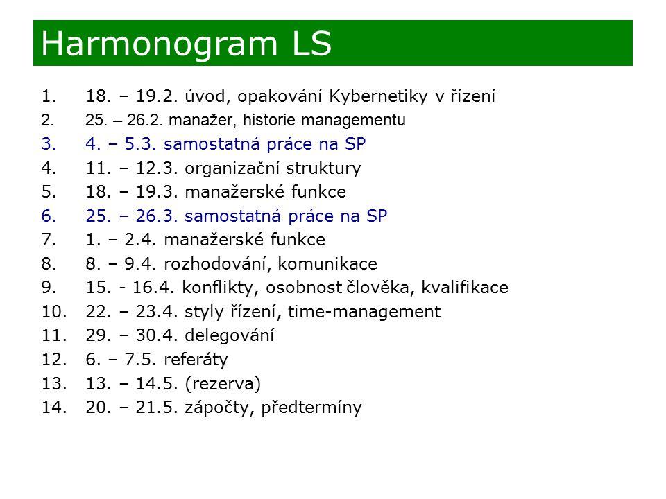 Harmonogram LS 18. – 19.2. úvod, opakování Kybernetiky v řízení
