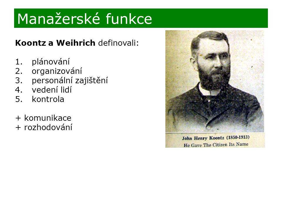 Manažerské funkce Koontz a Weihrich definovali: plánování organizování