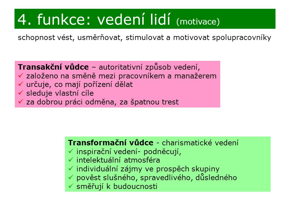 4. funkce: vedení lidí (motivace)
