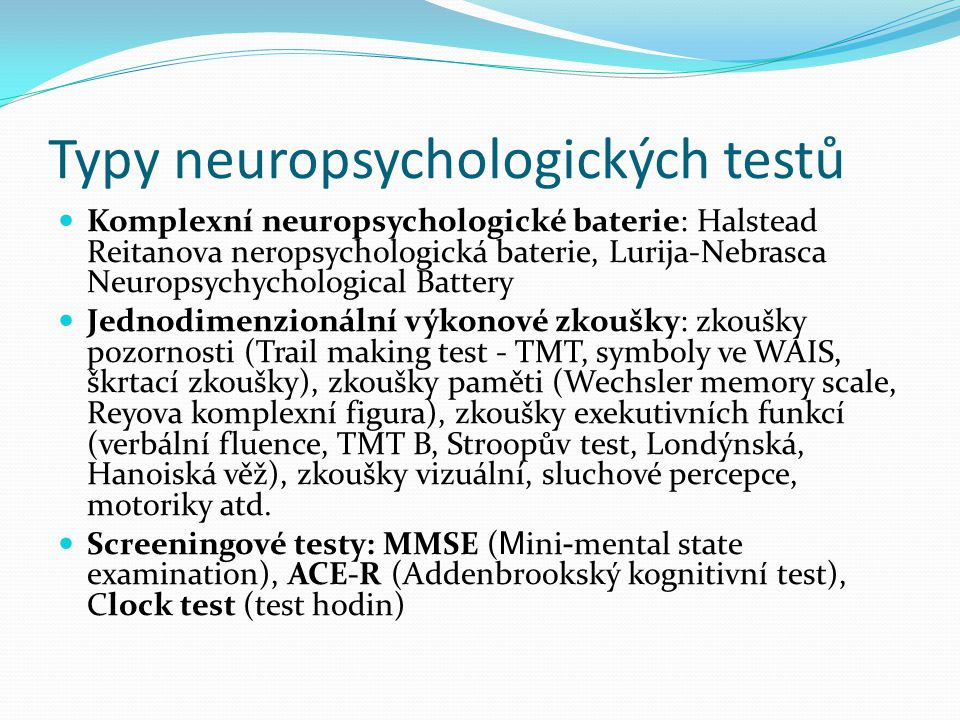Typy neuropsychologických testů