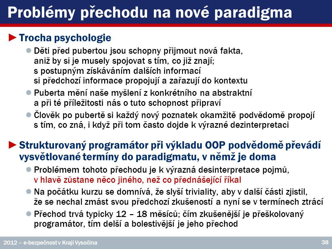 Problémy přechodu na nové paradigma