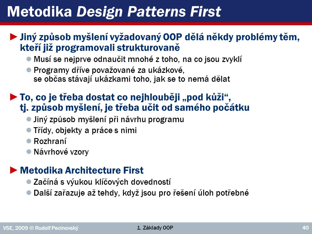 Metodika Design Patterns First